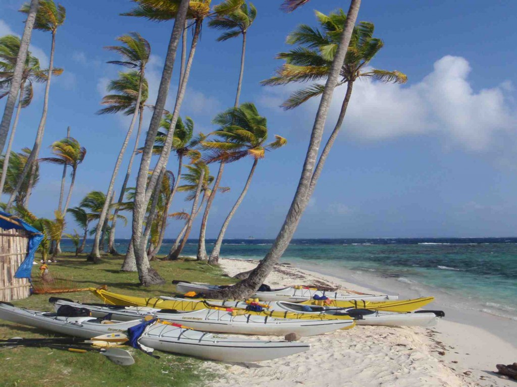 kayaks on beach