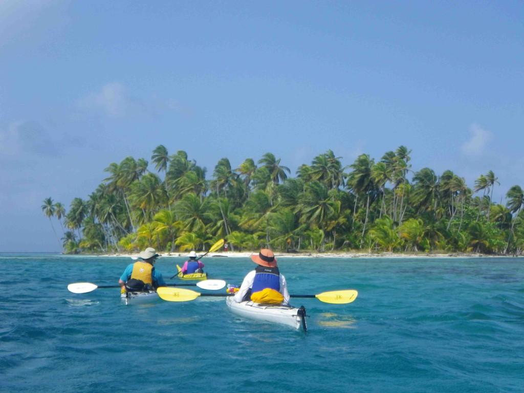 paddling to island