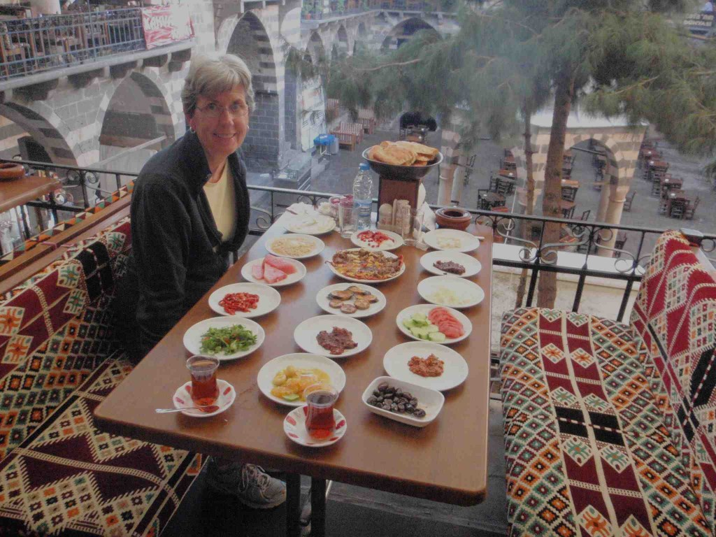 Typical breakfast at Hasan Pasa Hani, Diyarbakir