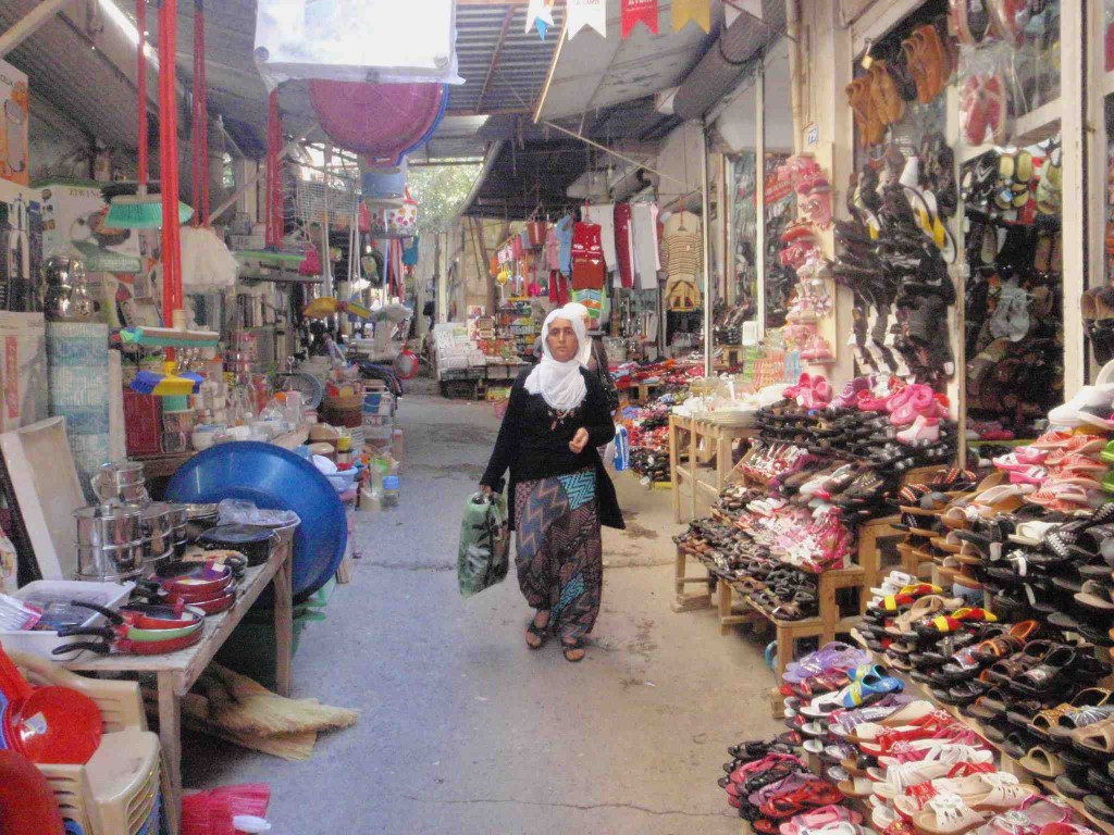 Bazaar Mardin - clothing and home goods section